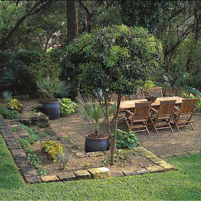 Backyard With Dry Laid Brick Patio