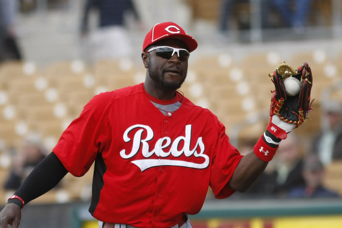 Cincinnati Reds second baseman Brandon Phillips gets ready to face the Chicago White Sox at Glendale Ranch.  Mandatory Credit: Rick Scuteri-US PRESSWIRE