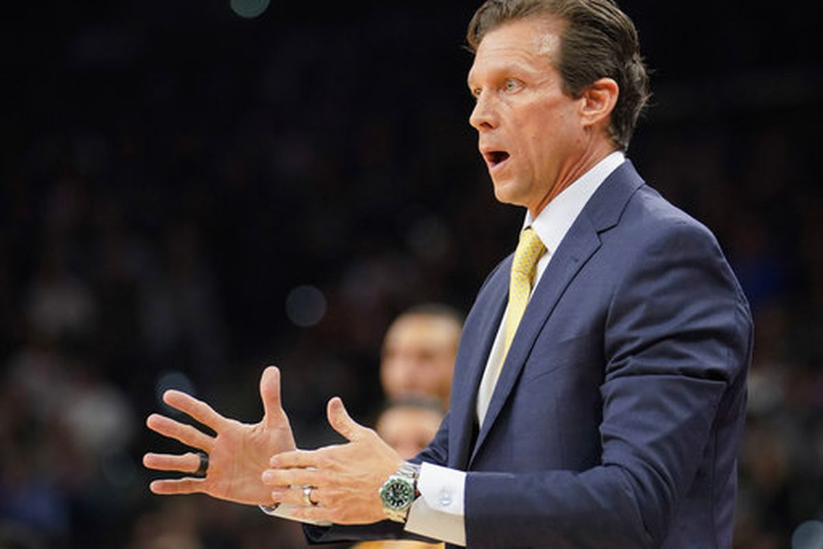 Utah Jazz head coach Quin Snyder calls time out during the first half of an NBA basketball game against the San Antonio Spurs, Saturday, Feb. 3, 2018, in San Antonio. (AP Photo/Darren Abate)