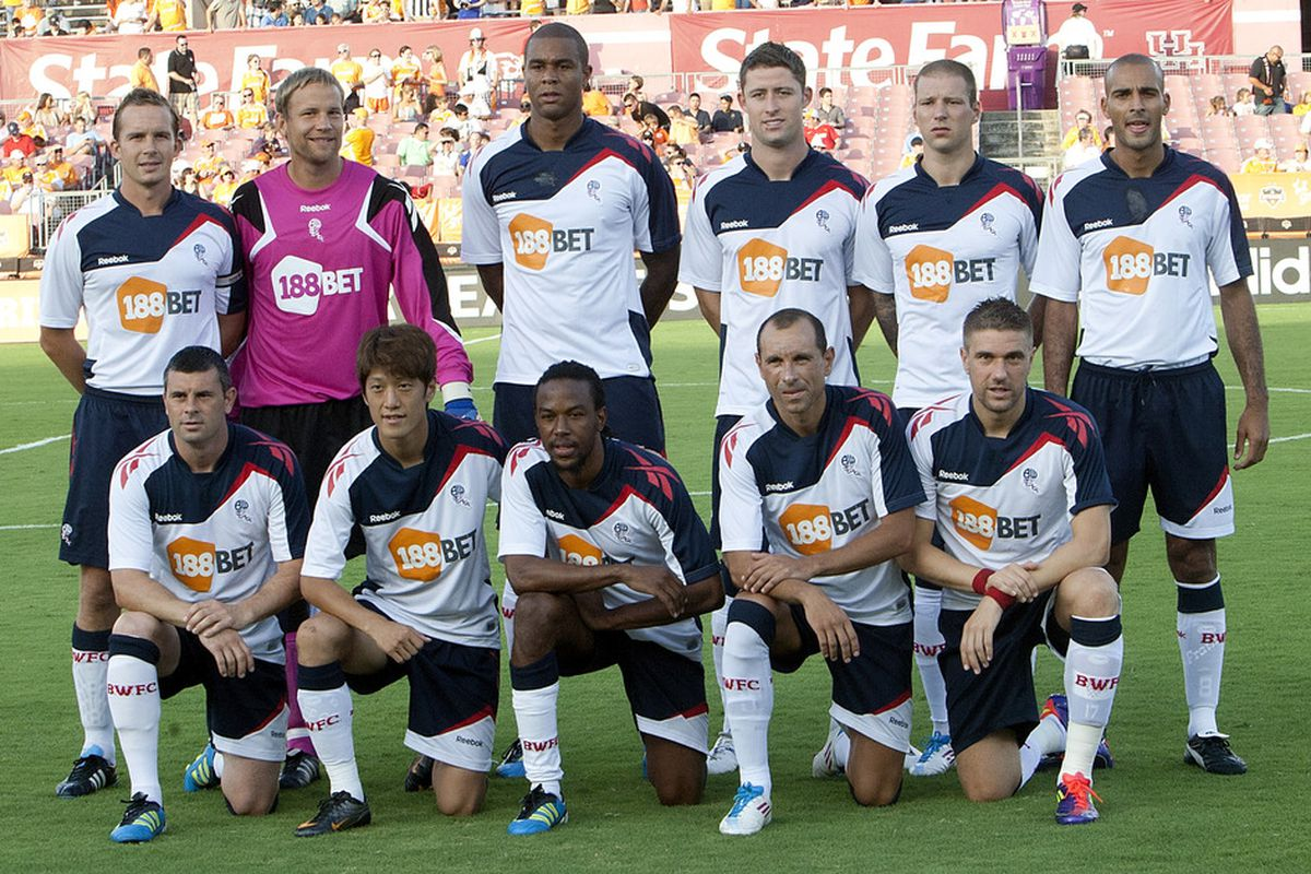HOUSTON - JULY 20:  The Bolton Wanderers pose before the game against the Houston Dynamo at Robertson Stadium on July 20, 2011 in Houston, Texas.  (Photo by Bob Levey/Getty Images)