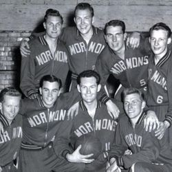 The 1954 Mormon Yankees are photographed. These missionaries served just prior to the missionaries whose story is documented in the movie.