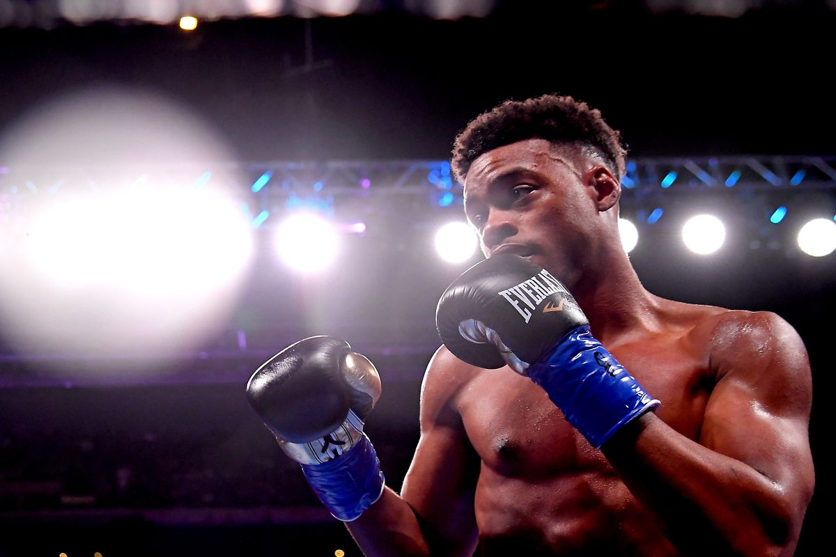 Erroll Spence Jr. in the ring fights against Shawn Porter in their IBF & WBC World Welterweight Championship fight at Staples Center on September 28, 2019 in Los Angeles, California. Spence, Jr won by decision.