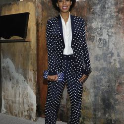 Solange in an awesome polka-dot suit.