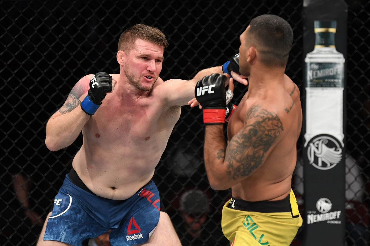 Cole Williams punches Claudio Silva of Brazil in their welterweight bout during the UFC Fight Night event at the Prudential Center on August 3, 2019 in Newark, New Jersey.