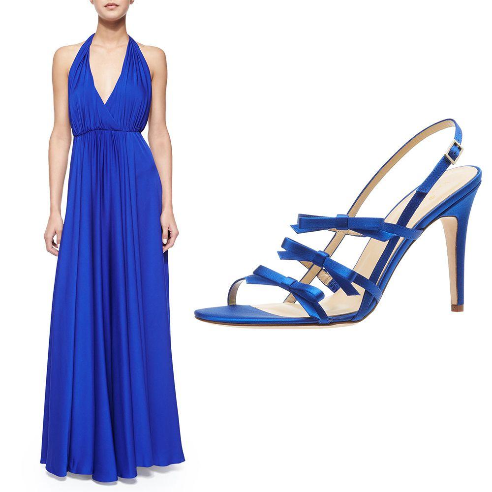 Milly Georgina Halter V-Neck Maxi Dress, $293. Kate Spade New York Sally Sandal, $298.