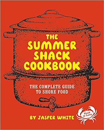 Bright red cookbook cover with yellow and white text and a simple illustration of a lobster pot and a crab.