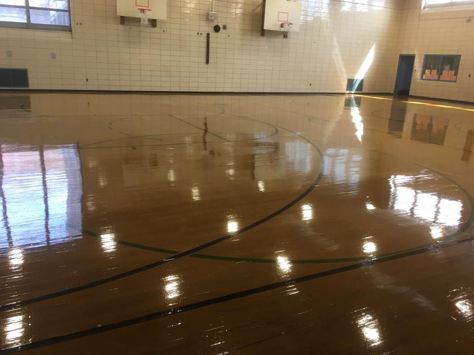 Gym floor at P.S. 93 in Brooklyn.