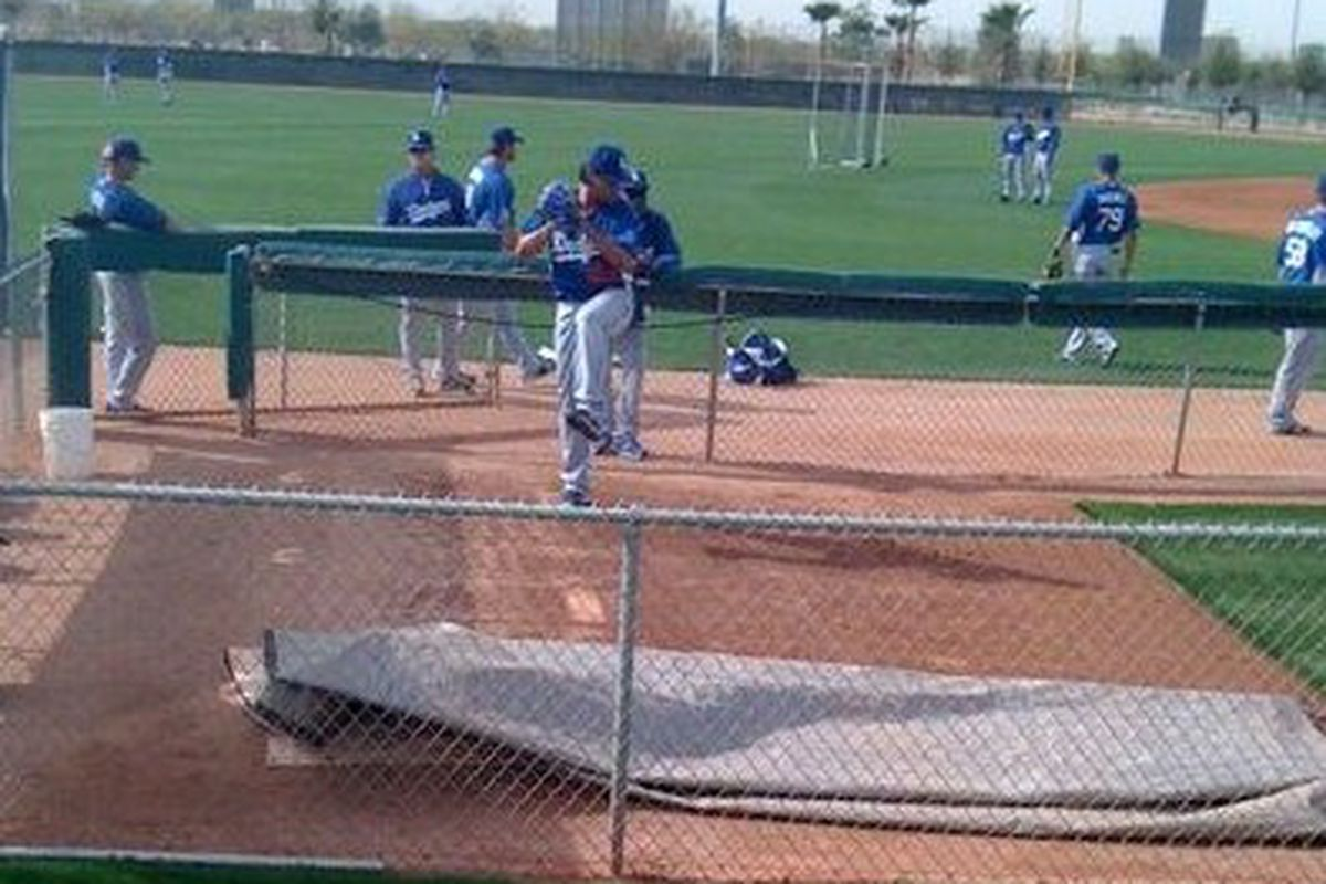 Vicente Padilla threw about 30 pitches in a bullpen session this morning at Camelback Ranch.