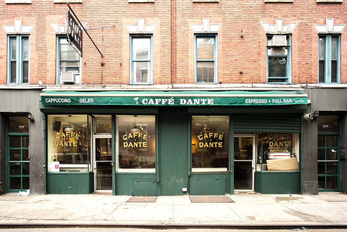 The green awning exterior of Caffe Dante.