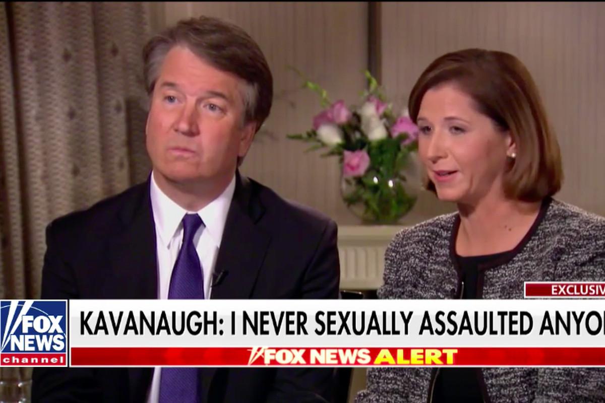 Brett Kavanaugh and his wife, Ashley Estes Kavanaugh, in a Fox News interview with Martha MacCallum to discuss sexual misconduct allegations against Brett Kavanaugh