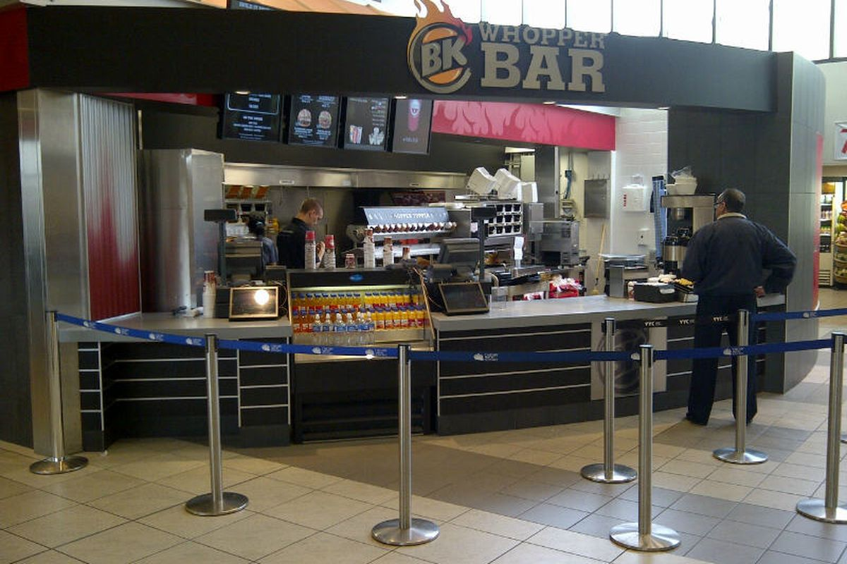 BK Whopper Bar inside Calgary International Airport.