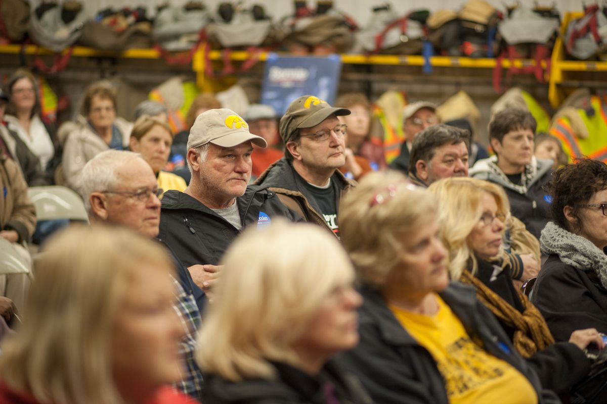 Caucus attendees look on during a Democratic Party Caucus at Jackson Township Fire Station on February 1, 2016 in Keokuk, Iowa.