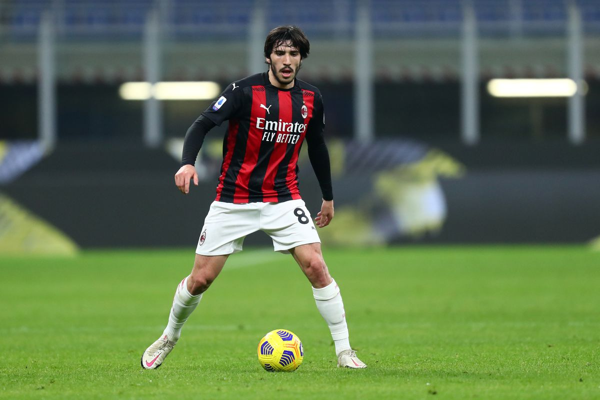 Sandro Tonali of Ac Milan in action during the Serie A...