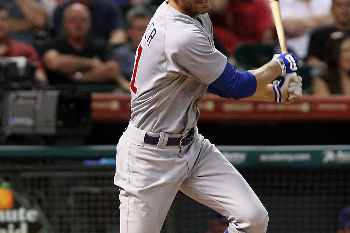 Houston, TX, USA; Chicago Cubs outfielder Joe Mather hits a single against the Houston Astros at Minute Maid Park. Mandatory Credit: Troy Taormina-US PRESSWIRE