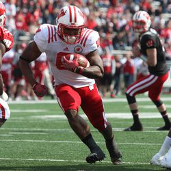Running back Corey Clement eyes the goal line.