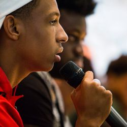 Chicago student Kobey Lofton at the March For Our Lives town hall meeting at The DuPage Unitarian Universalist Church, Naperville, June 16th, 2018. | James Foster/For the Sun-Times