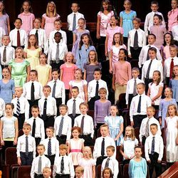 The Youth Choir sings during Saturday afternoon's session of semiannual general conference at the Conference Center in Salt Lake.