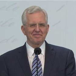 Elder D. Todd Christofferson, a member of the Quorum of the Twelve Apostles, makes a major announcement during a press conference on June 19.