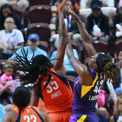 The Los Angeles Sparks take on the Connecticut Sun in a WNBA game at Mohegan Sun Arena in Uncasville, CT on August 19, 2018.