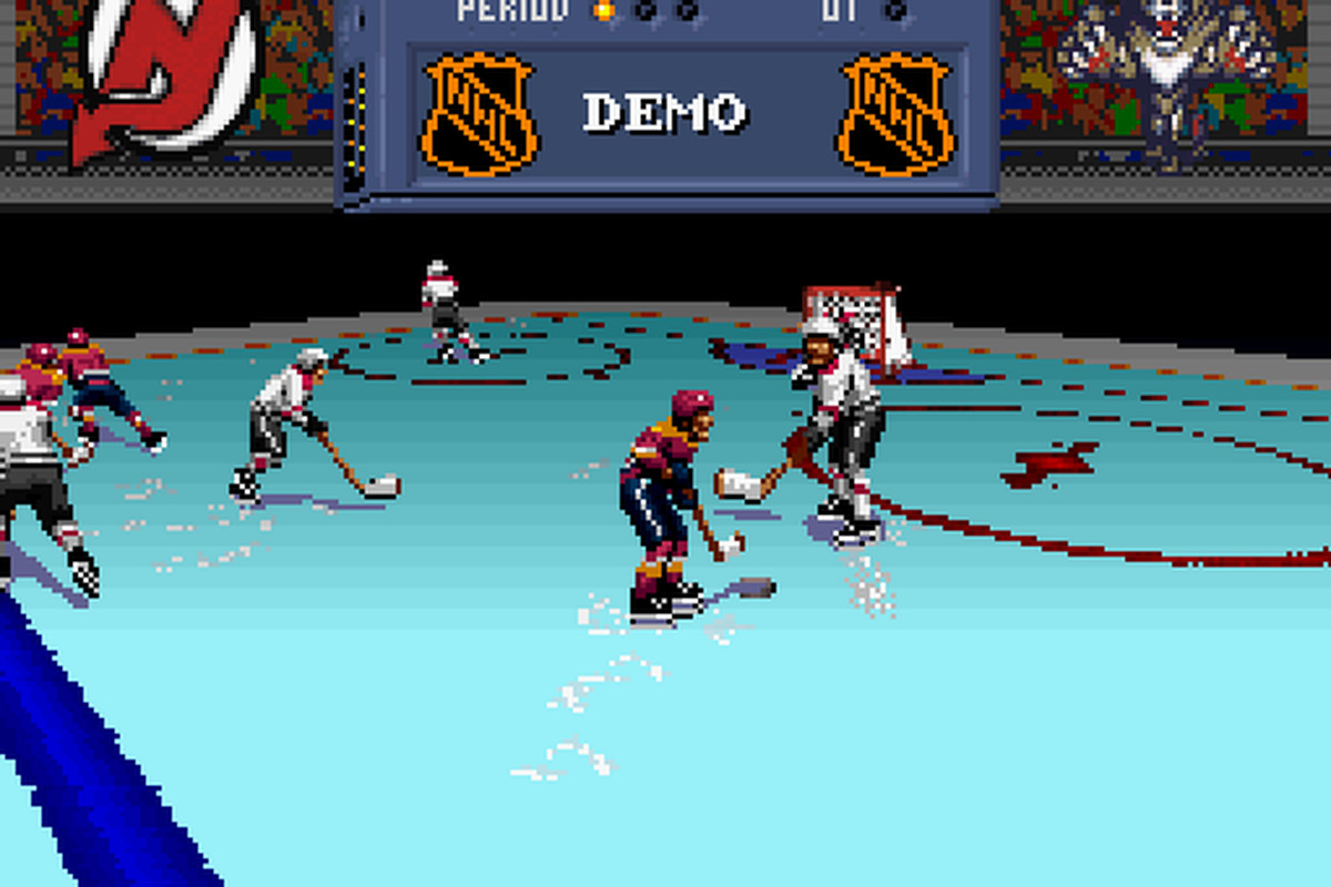 Embrace all of the Mode 7.  Also, yes, if you leave the game running from the start, it will automatically play a game such as the Devils playing Florida.  The puck carrier is about to be launched about 40 feet by the way.