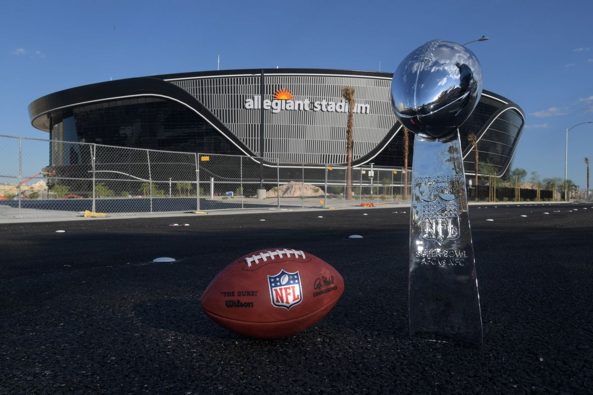 General overall view of Wilson 2020 NFL The Duke official football and Super Bowl Vince Lombardi trophy at the Allegiant Stadium construction site.