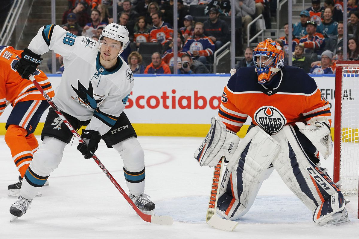 Mar 14, 2018; Edmonton, Alberta, CAN; San Jose Sharks forward Tomas Hertl (48) loose for a rebound in front of Edmonton Oilers goaltender Al Montoya (35) during the second period at Rogers Place.