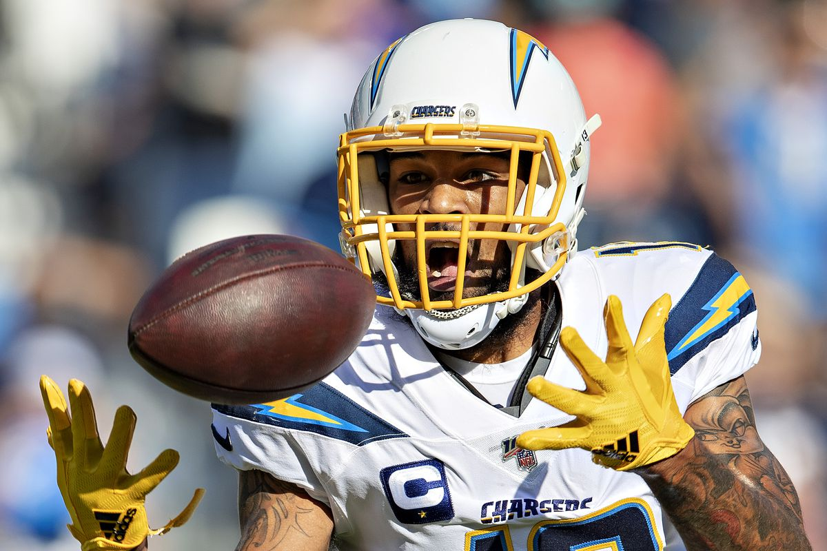 Keenan Allen of the Los Angeles Chargers attempts to catch a pass during a game against the Tennessee Titans at Nissan Stadium on October 20, 2019 in Nashville, Tennessee.