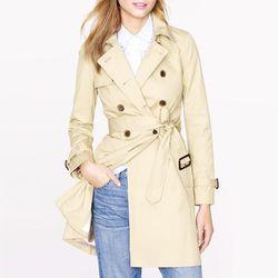 "<b>J.Crew Collection</b> Icon Trench in light khaki, <a href=""http://www.jcrew.com/womens_category/blazersandouterwear/outerwear/cottonanddenim/PRDOVR~49185/99102443535/ENE~1+2+3+22+4294967294+20~~~17~15~all~mode+matchallany~~~~~trench/49185.jsp"">$298</a>"