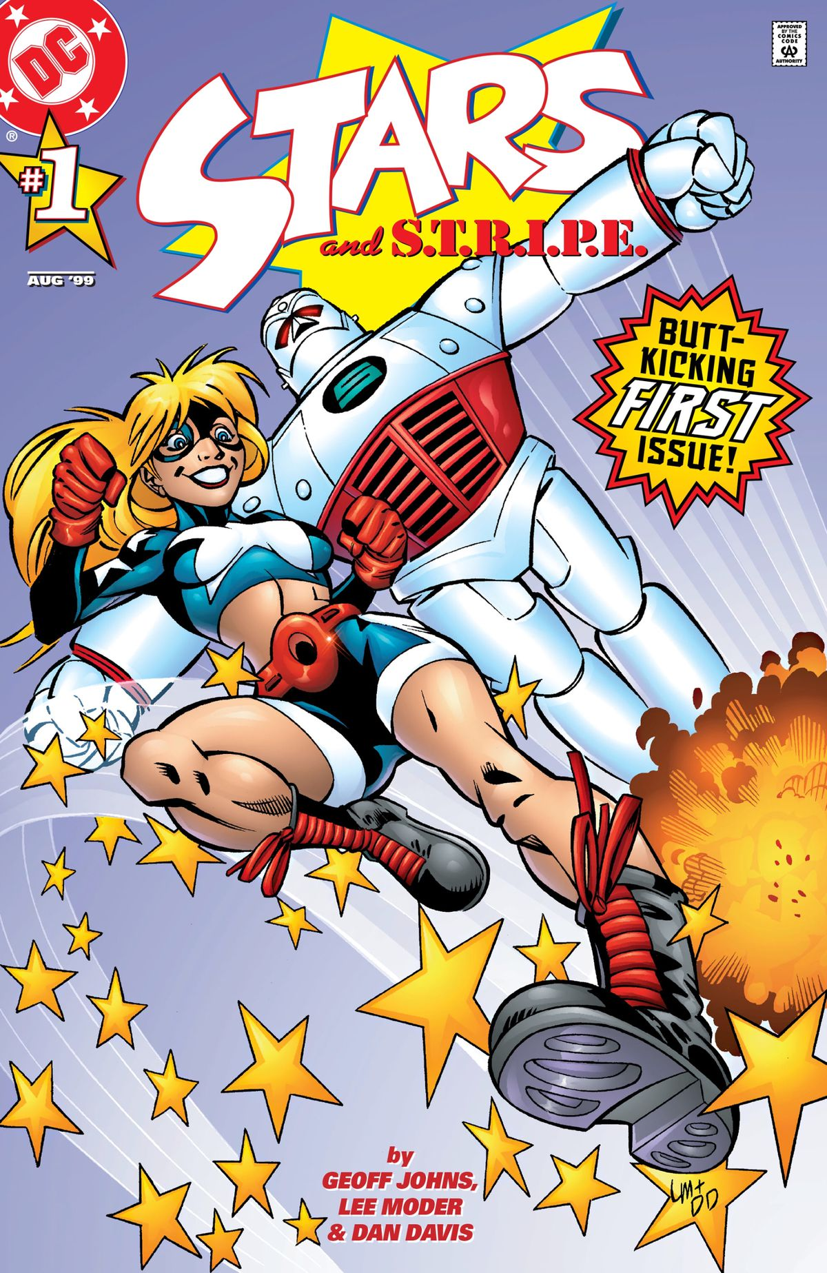 Courtney Whitmore/Stargirl and Pat Dugan in his STRIPE exosuit spring across the page on the cover of Stars and STRIPE #1, DC Comics (1999).