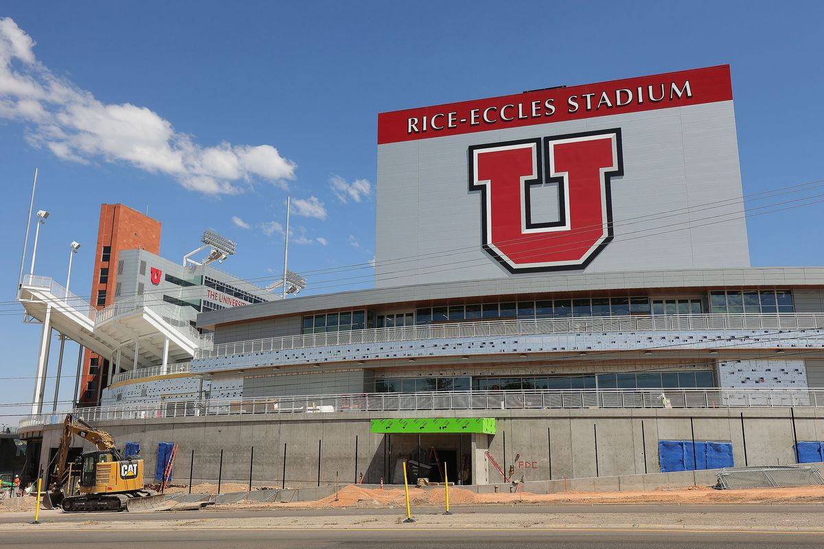 Construction and renovation continues on Rice-Eccles Stadium in Salt Lake City on Thursday, July 8, 2021.