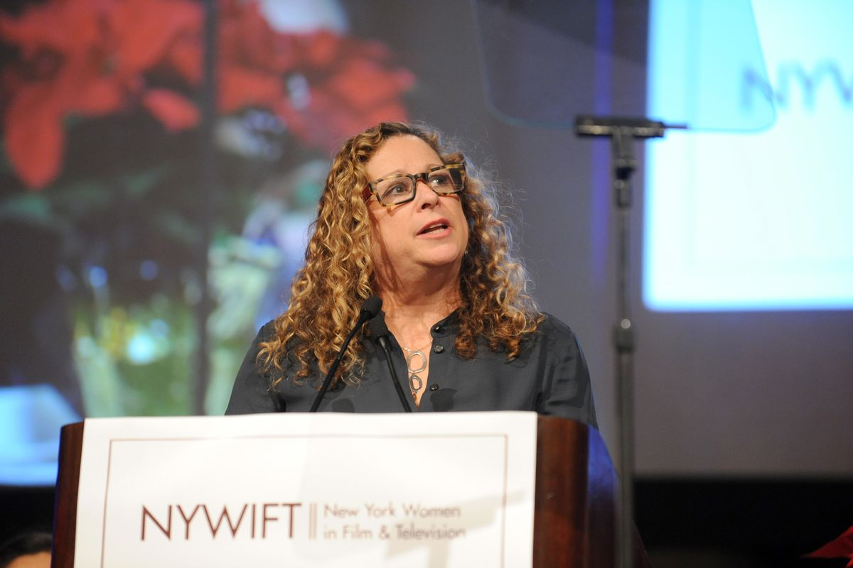 Abigail Disney accepts the Loreen Arbus Changemaker Award at the 34th annual Muse Awards presented by New York Women in Film & Television (NYWIFT), Thursday, Dec. 11, 2014, in New York. The Muse Awards recognize the outstanding vision and achievement of w