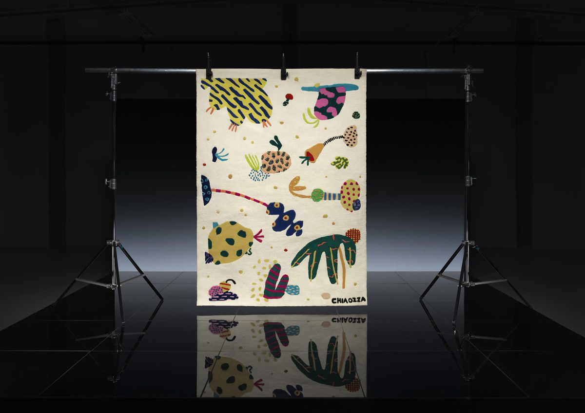 Cream rug with colorful illustrations