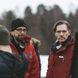 """Director Adam Thomas Anderegg, left, stands with producer and co-writer Russ Kendall on set in Lithuania for BYUtv's """"Winter Thaw."""""""