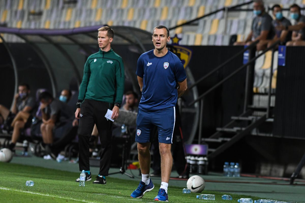 Oran Kearney, head coach of Coleraine during the UEFA Europa...