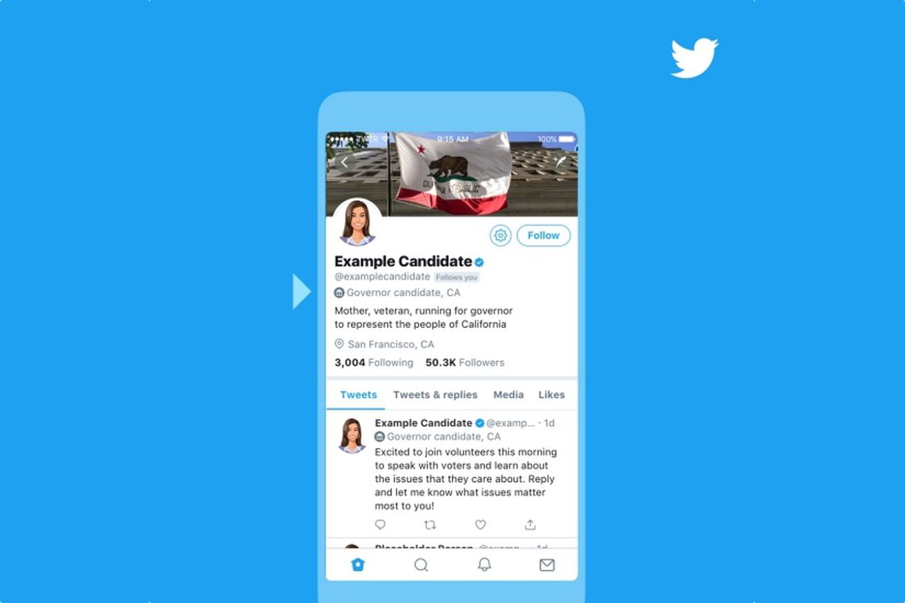twitter will label election candidates with new badges on their profiles