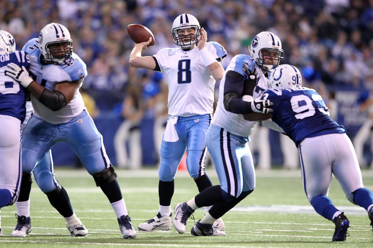 INDIANAPOLIS, IN - DECEMBER 18: Matt Hasselbeck #8  of the Tennessee Titans throws a pass during the NFL game against the Indianapolis Colts at Lucas Oil Stadium on December 18, 2011 in Indianapolis, Indiana.  (Photo by Andy Lyons/Getty Images)