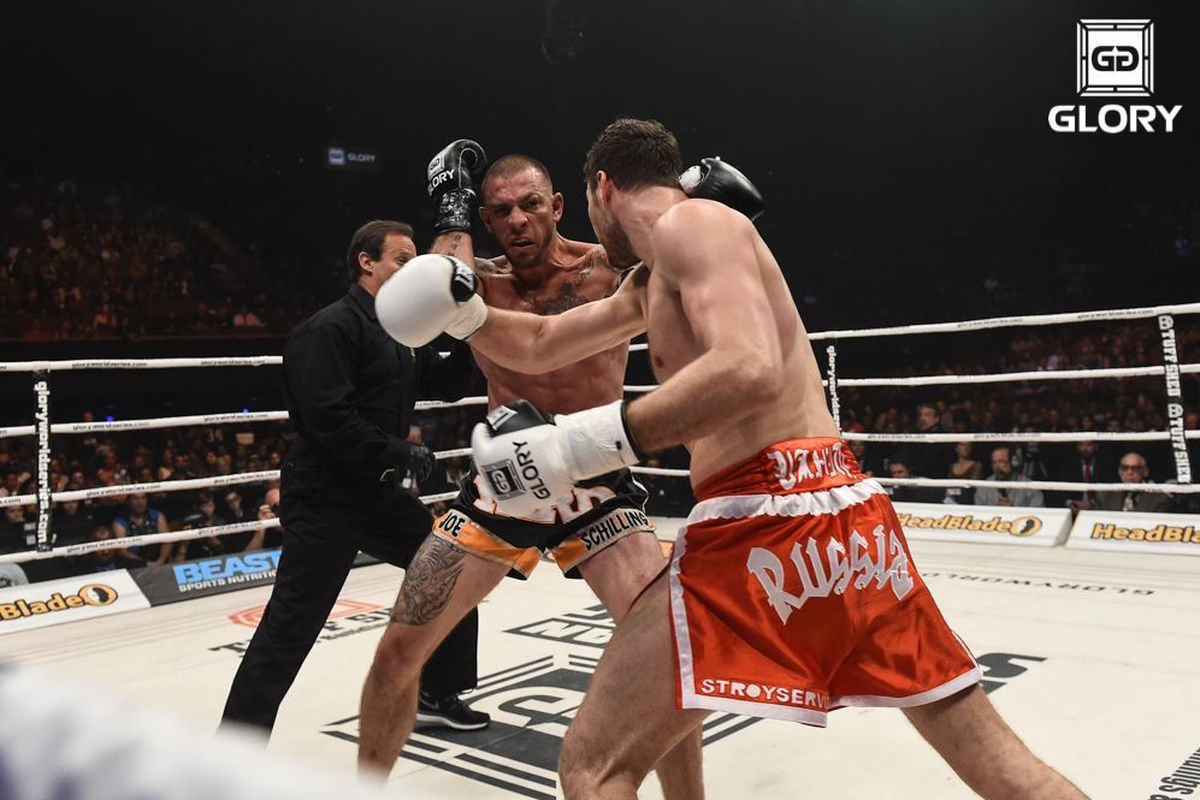Joe Schilling and Artem Levin mixing it up at GLORY Last Man Standing