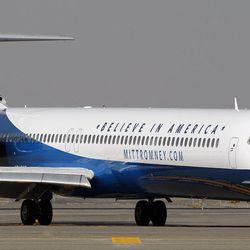 Mitt Romney's plane arrives in Salt Lake City, Tuesday, Sept. 18, 2012.