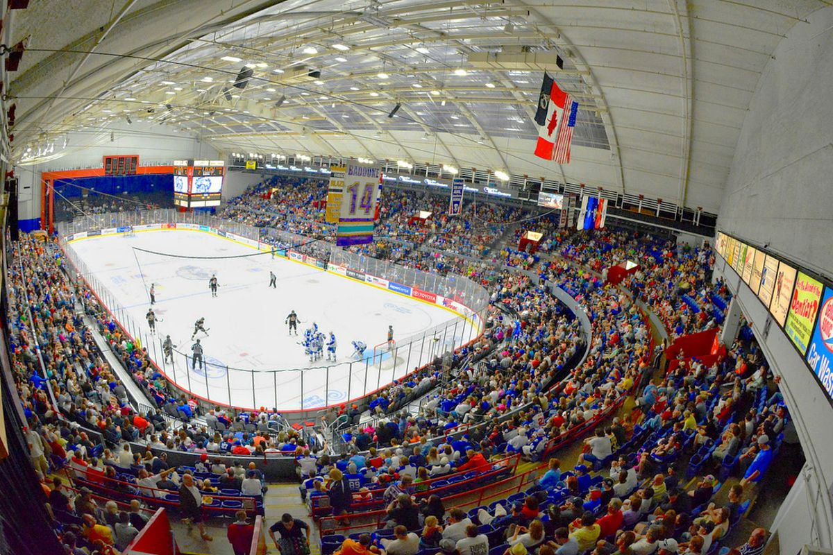 The near-capacity crowd at Onondaga County War Memorial Arena on Saturday,June 1st, 2013. The Crunch clinched a Calder Cup Finals berth with a 7-0 victory over Wilkes-Barre/Scranton.
