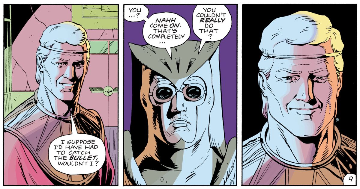 """""""I suppose I'd have had to catch the Bullet, wouldn't I?,"""" says Ozymandias. """"You..? Nahh come on. That's completely... You couldn't really do that?"""" says Nite Owl. Ozy just grins, like an asshole would, in Watchmen, DC Comics (1987)."""