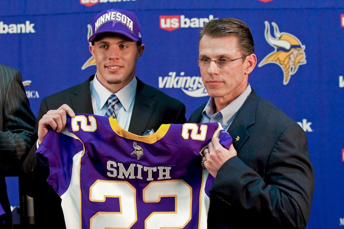 Apr 27, 2012; Minneapolis, MN, USA; Minnesota Vikings general manager Rick Spielman poses with first round draft pick Harrison Smith (right) from Notre Dame at Vikings headquarters. Mandatory Credit:  Greg Smith-US PRESSWIRE