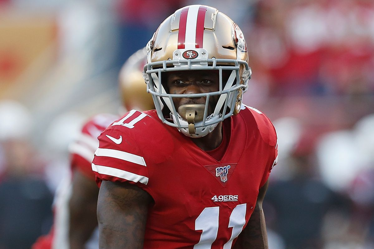 Wide receiver Marquise Goodwin of the San Francisco 49ers lines up for a play in the fourth quarter against the Arizona Cardinals at Levi's Stadium on November 17, 2019 in Santa Clara, California.