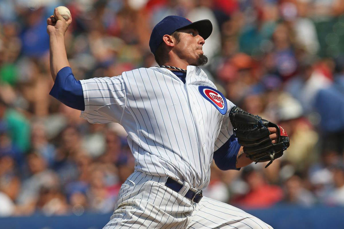 Starting pitcher Matt Garza of the Chicago Cubs delivers the ball against the Arizona Diamondbacks at Wrigley Field in Chicago, Illinois. The Cubs defeated the Diamondbacks 3-1. (Photo by Jonathan Daniel/Getty Images)