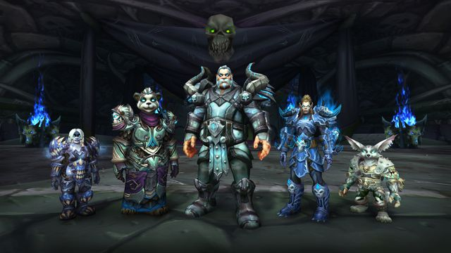 World of Warcraft - A group of players, representing different races from around Azeroth, stand in front of the camera. They are all Death Knights with grim armor and glowing blue eyes.