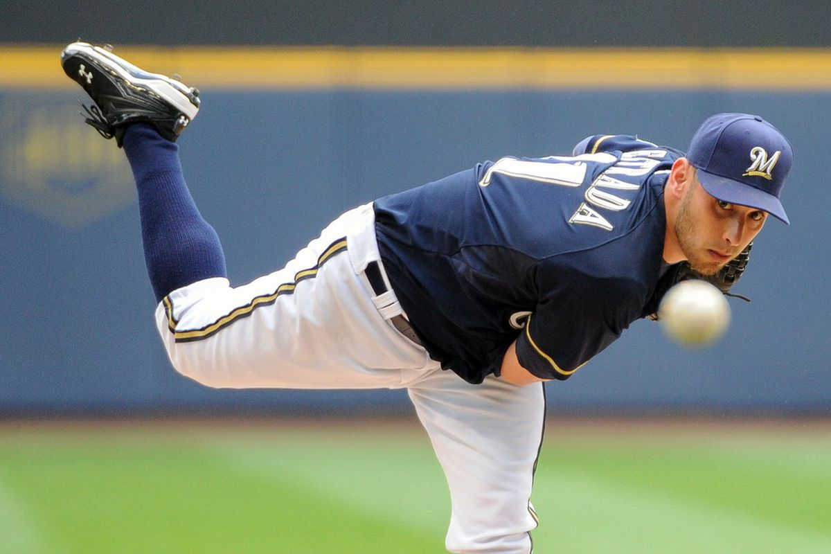 July 3, 2012; Milwaukee, WI, USA;  Milwaukee Brewers pitcher Marco Estrada (41) pitches against the Miami Marlins in the first inning at Miller Park.  Mandatory Credit: Benny Sieu-US PRESSWIRE