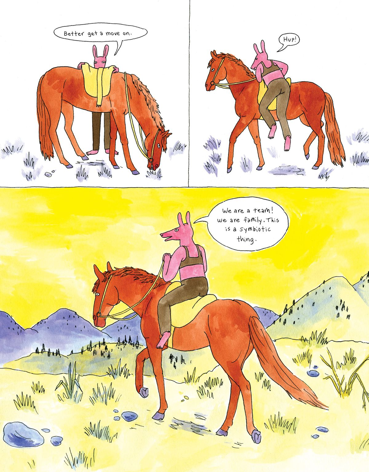 """""""Better get a move on,"""" the girl says as she saddles up her horse. """"We are a team! We are family. This is a symbiotic thing,"""" she says as they ride off."""