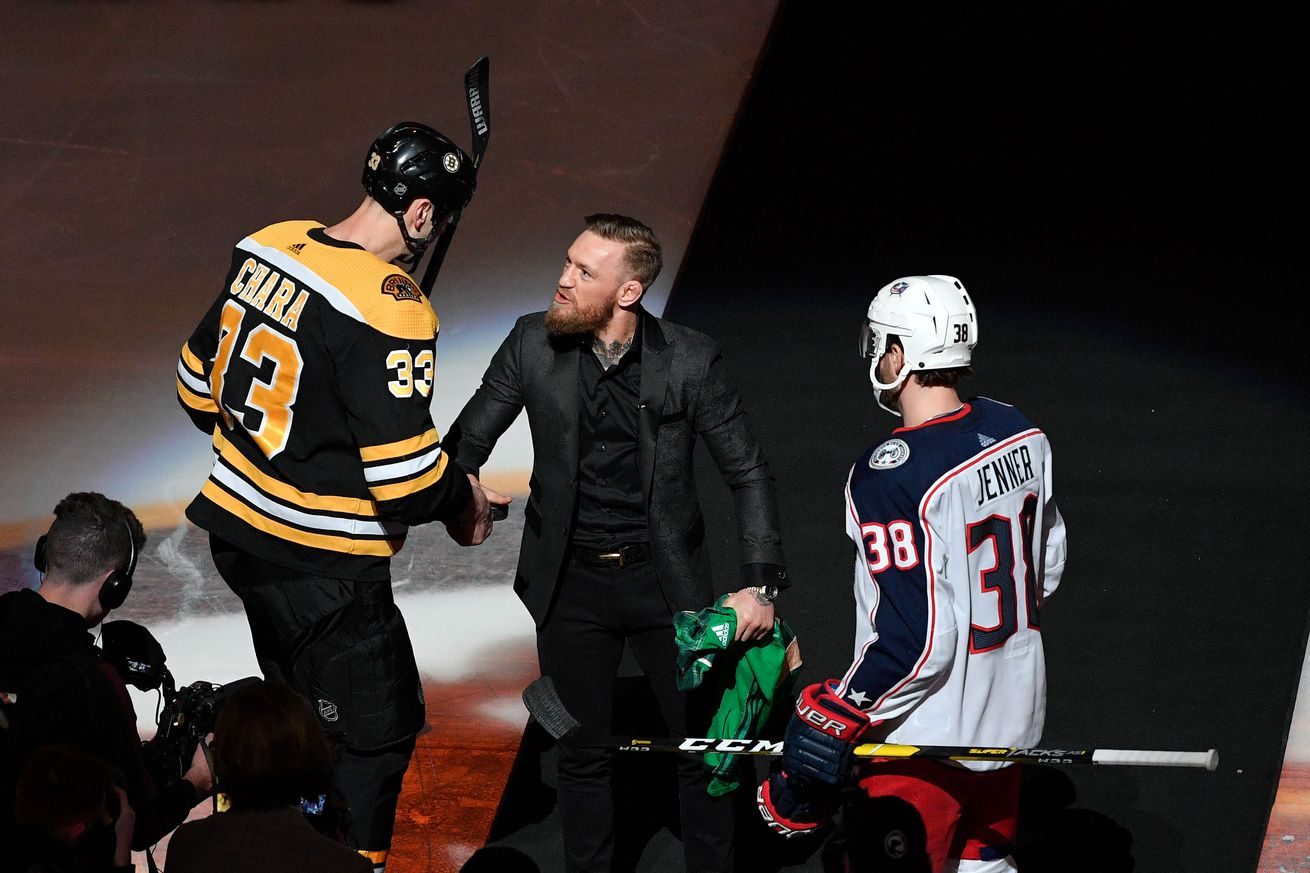 Conor McGregor dropped the puck at a Bruins game on Saturday night.