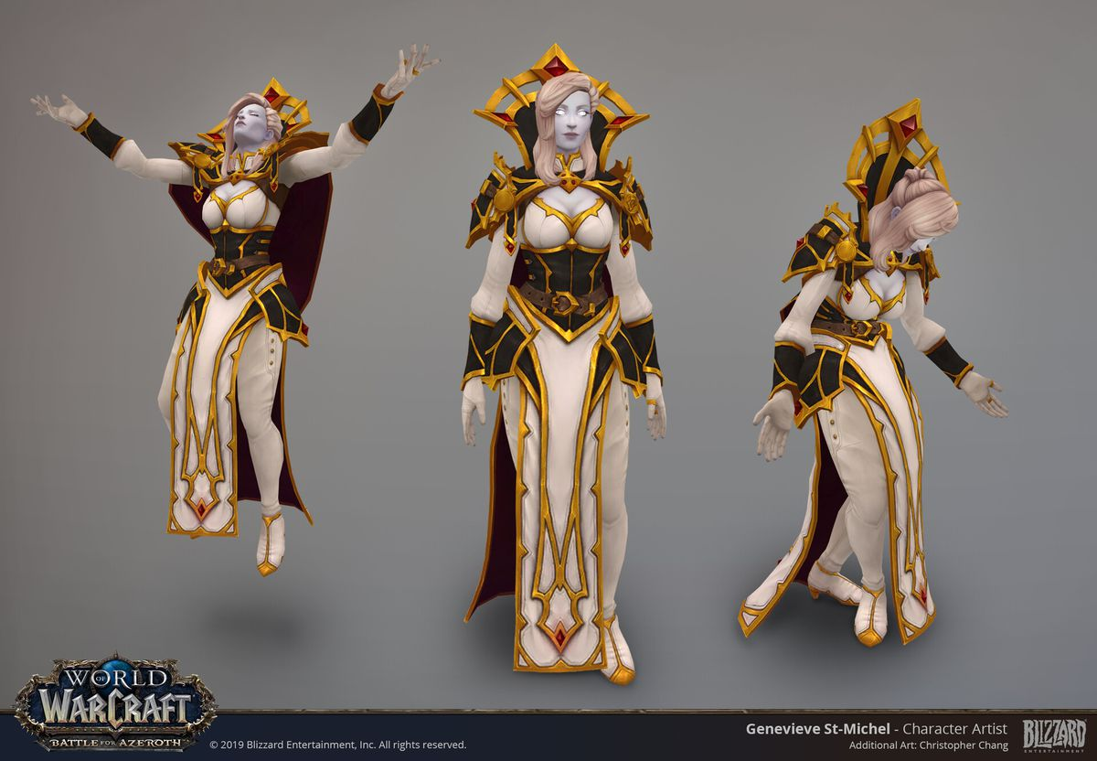 World of Warcraft - Calia Menethil's new model is displayed in three forms. She is pale, with glowing eyes and white-blonde hair, wearing an elaborate white and gold dress with black accents.