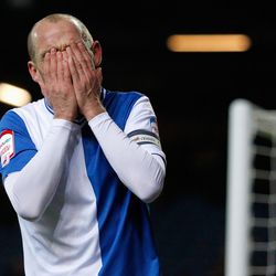 Danny Murphy of Blackburn reacts after missing a goal scoring chance during the npower Championship match between Blackburn Rovers and Bolton Wanderers at Ewood Park on November 28, 2012 in Blackburn, England. (Photo by Paul Thomas/Getty Images)