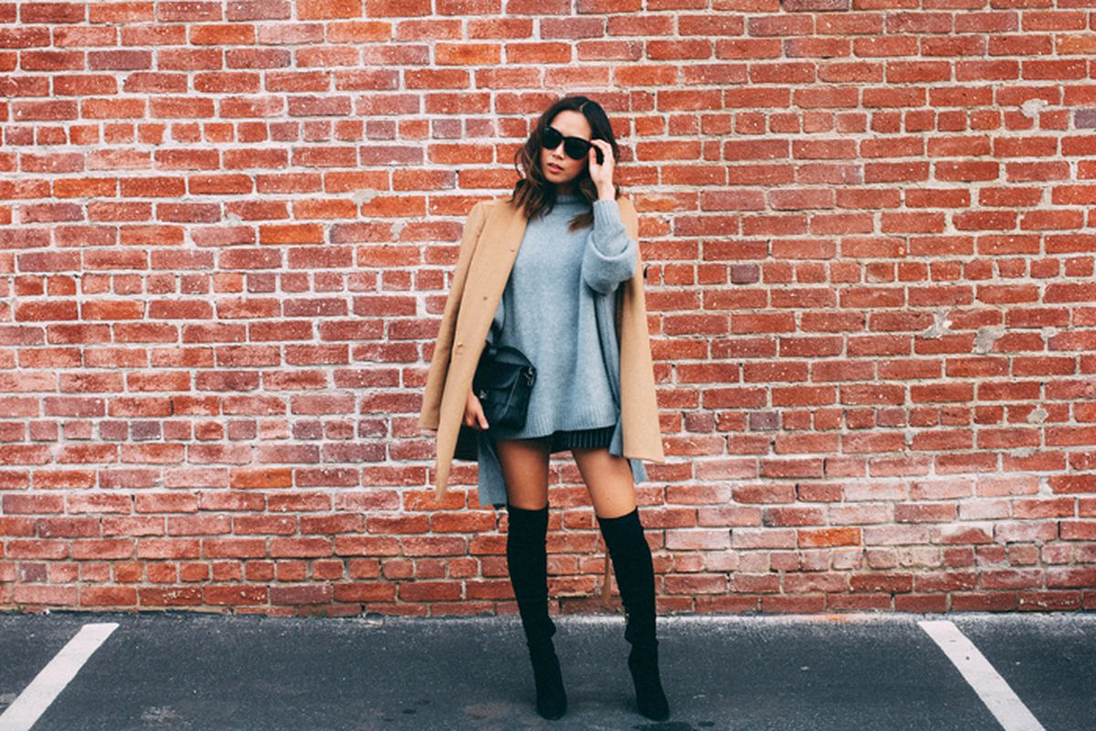 """Photo: <a href=""""http://www.songofstyle.com/2015/01/camel-coat-suede-thigh-high-boots.html"""" target=""""_blank"""">Song of Style</a>"""